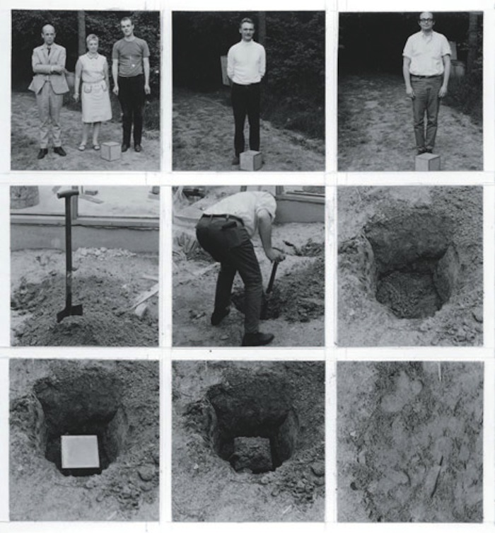 "The burial of the cube reportedly took place in a local garden, but these photographs, referring again to the notion of the series or process, are the only proof that LeWitt's actions actually took place. Without seeing the event taking place, or knowing what is held within the cube, Buried Cube relies on the idea, as opposed to a finished object. A conceptual piece, this work was produced shortly following the publication of LeWitt's 1968 manifesto describing the new Conceptual art movement. In the manifesto, he declares, ""The execution is a perfunctory affair. The idea becomes a machine that makes the art."" Likewise, by emptying this ""burial""-like an actual interment, an extremely important, emotional, and personal affair-of content, value, gesture and expression, LeWitt disengages himself from the work and takes a strong ""death of the author"" stance."
