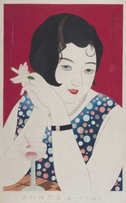 Image 2: Kobayakawa Kiyoshi, Tipsy, 1930. Woodblock print, 51.3 x 30.5 cm.  Honolulu Museum of Art.