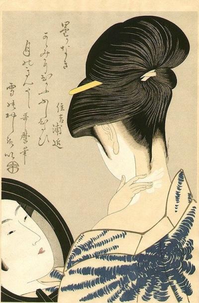 'Beauty Powdering the Neck', c. 1790. Kitagawa Utamaro. Woodblock print. 28 x 41 cm.