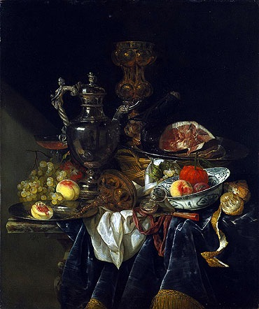 Still Life with a Silver Wine Jar and a Reflected Portrait of the Artist, circa 1657. Abraham van Beyeren (1620/21-1690), Dutch. Oil on canvas, 102 x 85 cm. Purchase, Mr. and Mrs. William H. Marlatt Fund. Acc. No. 60.80 Abraham van Beyeren's style is significantly darker and more tightly cropped; however, the item he captures are similar to Craen's: partially carved ham, peeled lemon, silver ewer, wicker basket, venetian glass, velvet drapery, etc. Like Claes, Van Beyeren was fascinated with optical illusions and   reflection of objects on the shiny surfaces.