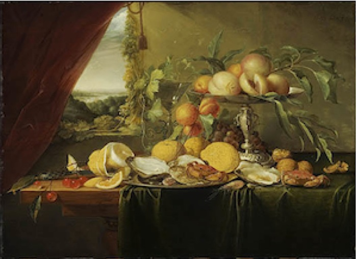 Banquet Still Life with a View onto a Landscape, about 1645. Jan Davidsz de Heem (1606-1684), Dutch. Oil on panel, 54 x 74 cm. Montreal Museum of Fine Arts, Canada.